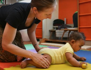 baby in tummy time for motor skill development