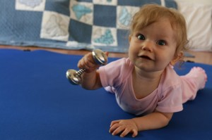 baby grasps and shakes classic silver dumbell rattle