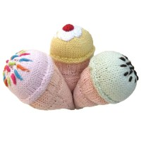 ice cream cone knit baby rattles