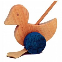 a duck push toy on a stick