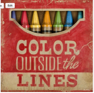 "box of crayons with words ""Color Outside the Lines"""